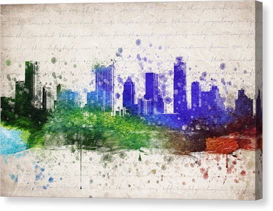 Austin Skyline Canvas Print - Austin In Color by Aged Pixel