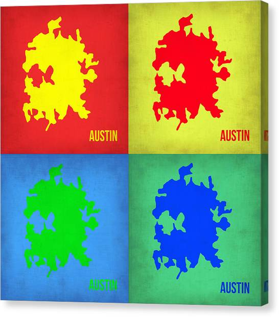 Austin Canvas Print - Austin Pop Art Map 1 by Naxart Studio