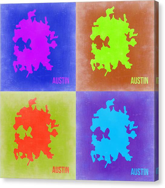 Austin Canvas Print - Austin Pop Art Map 2 by Naxart Studio