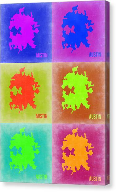 Austin Canvas Print - Austin Pop Art Map 4 by Naxart Studio