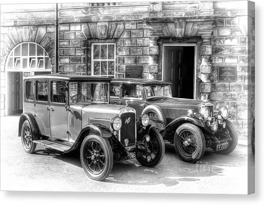 Steve Austin Canvas Print - Austin Six And Invicta Cars   Black And White by Steve H Clark Photography