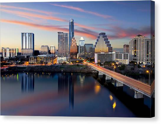 Austin Texas Canvas Print - An Image Of The Austin Skyline And Lady Bird Lake From The Hyatt Hotel by Rob Greebon
