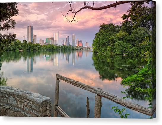Austin Texas Canvas Print - Austin Skyline From Lou Neff Point by Silvio Ligutti