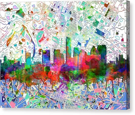 Austin Skyline Canvas Print - Austin Texas Abstract Panorama 7 by Bekim Art