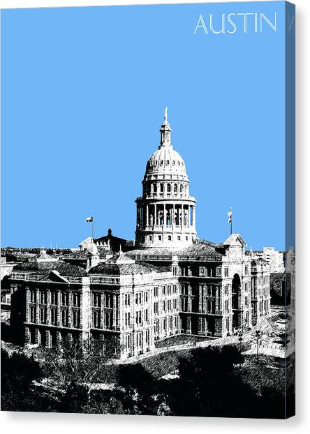 Austin Skyline Canvas Print - Austin Texas Capital - Sky Blue by DB Artist