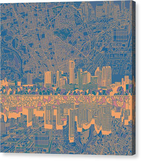 Austin Skyline Canvas Print - Austin Texas Skyline 2 by Bekim Art