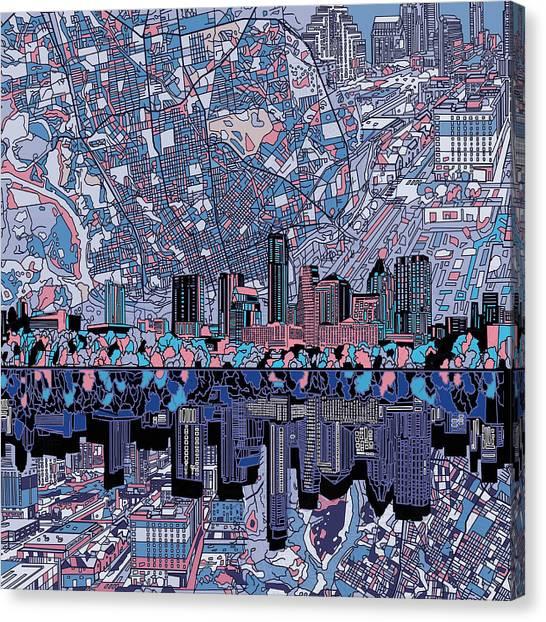Austin Skyline Canvas Print - Austin Texas Skyline 3 by Bekim Art
