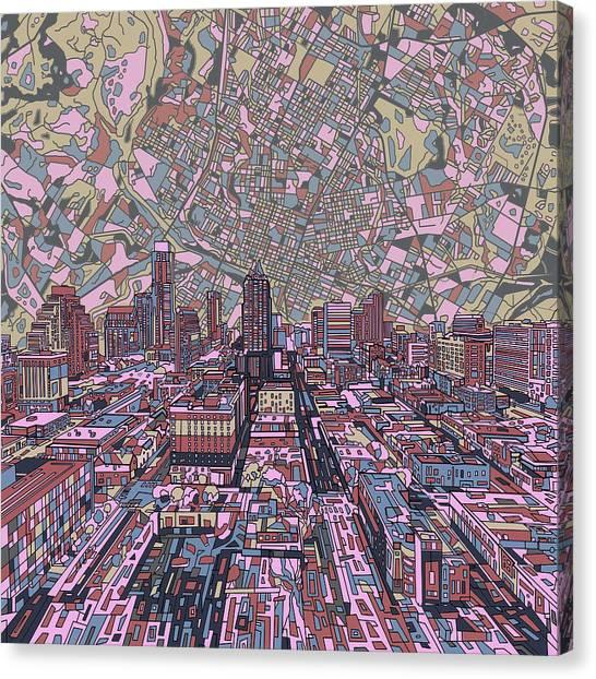 Austin Skyline Canvas Print - Austin Texas Vintage Panorama 2 by Bekim Art