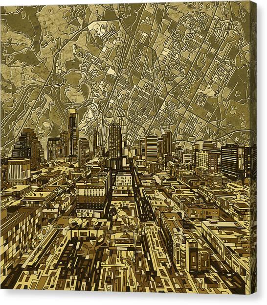 Austin Skyline Canvas Print - Austin Texas Vintage Panorama by Bekim Art