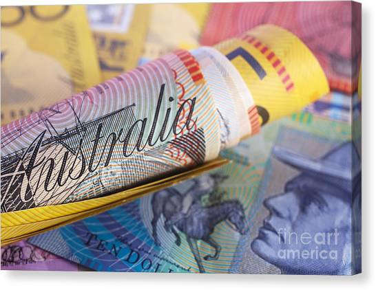 Currency Canvas Print - Australia Currency Roll Background by Colin and Linda McKie