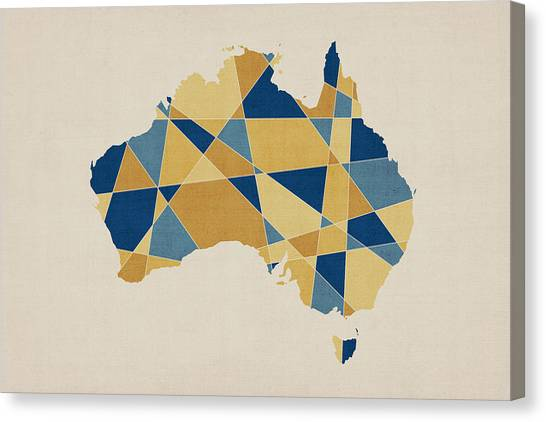 Abstract Art Canvas Print - Australia Geometric Retro Map by Michael Tompsett