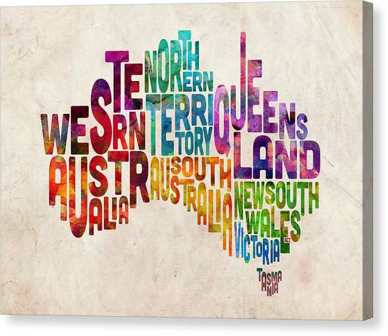 Australian Canvas Print - Australia Typographic Text Map by Michael Tompsett
