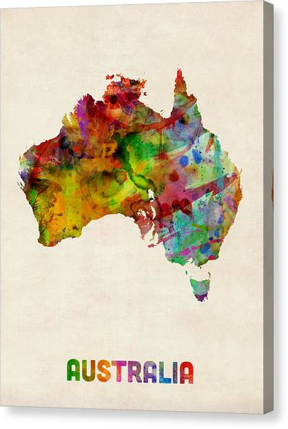 Australian Canvas Print - Australia Watercolor Map by Michael Tompsett
