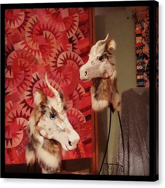 Unicorns Canvas Print - Authentic #unicorn Heads. I Mean Uh by Emmy Vesta