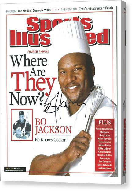 Mba Canvas Print - Autographed Sports Illustrated Cover By Bo Jackson Bo Knows Cookin' by Desiderata Gallery