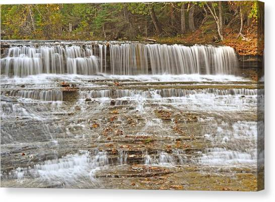 Alger Waterfalls Canvas Print - Autrain Falls In Autumn by Kathryn Lund Johnson