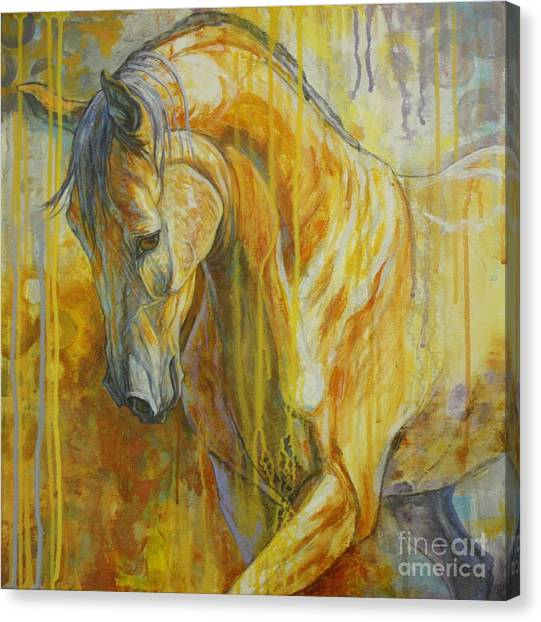 Bay Horse Canvas Print - Autumn Air by Silvana Gabudean Dobre