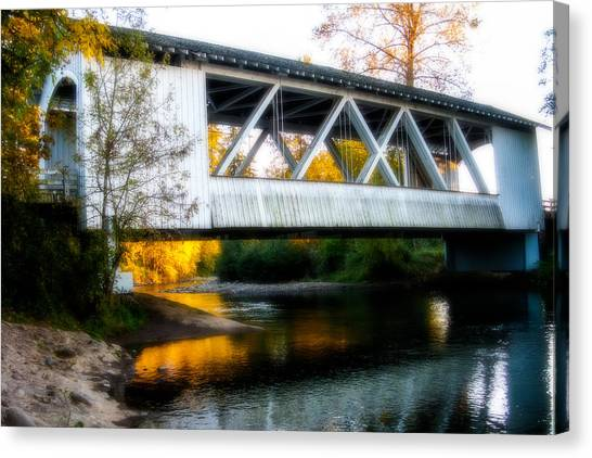 Autumn And The Larwood Bridge Canvas Print