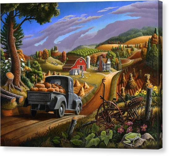 Rolling Hills Canvas Print - Autumn Appalachia Thanksgiving Pumpkins Rural Country Farm Landscape - Folk Art - Fall Rustic by Walt Curlee