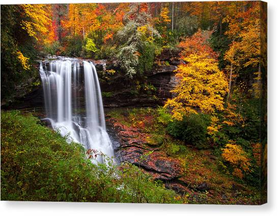 Maple Leaf Art Canvas Print - Autumn At Dry Falls - Highlands Nc Waterfalls by Dave Allen