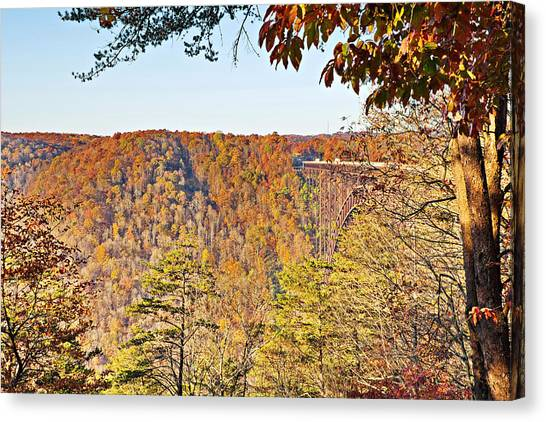 Autumn At The New River Gorge Single-span Arch Bridge Canvas Print