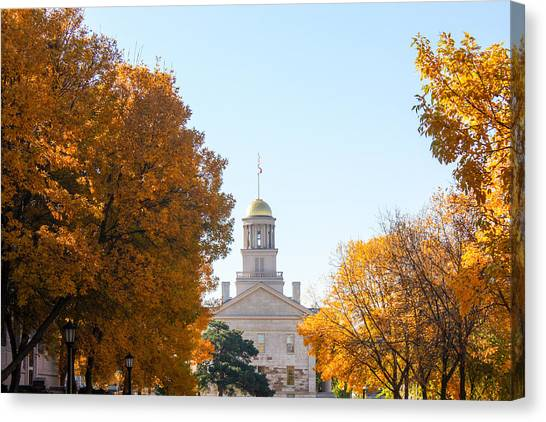 University Of Iowa Canvas Print - Autumn At The Old Capitol Iowa City Ia   by Cynthia Woods