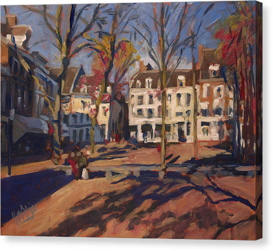 Briex Canvas Print - Autumn At The Onze-lieve-vrouweplein Maastricht by Nop Briex
