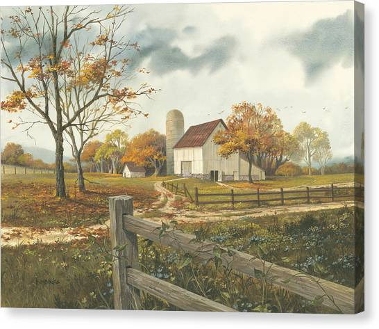 Dirt Road Canvas Print - Autumn Barn by Michael Humphries