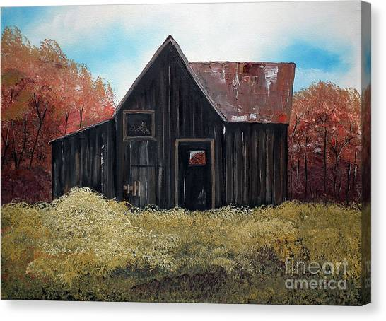 Autumn - Barn -orange Canvas Print