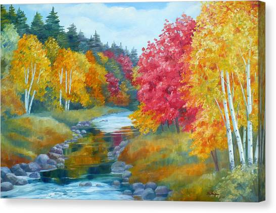 Autumn Blaze With Birch Trees Canvas Print
