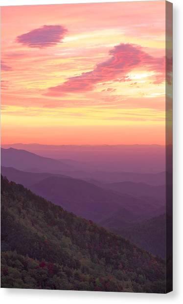 Autumn Blue Ridge Sunrise Canvas Print by Photography  By Sai