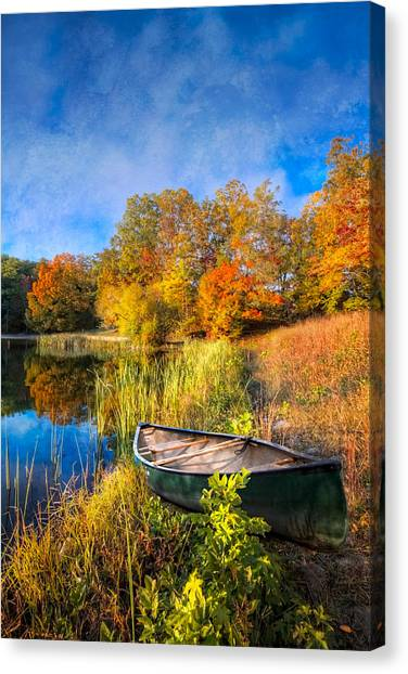 Smokys Canvas Print - Autumn Canoe by Debra and Dave Vanderlaan