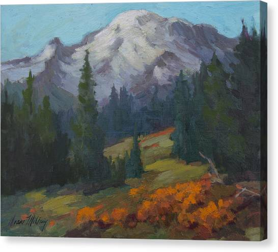 Mount Rainier Canvas Print - Autumn Color At Mount Rainier by Diane McClary
