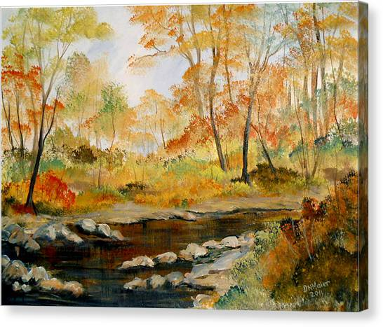 Autumn Colors By The River Canvas Print