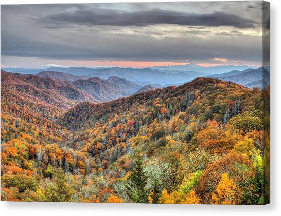 Autumn Colors On The Blue Ridge Parkway At Sunset Canvas Print