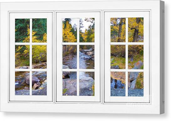 Rocky Mountain Canvas Print - Autumn Creek White Picture Window Frame View by James BO  Insogna