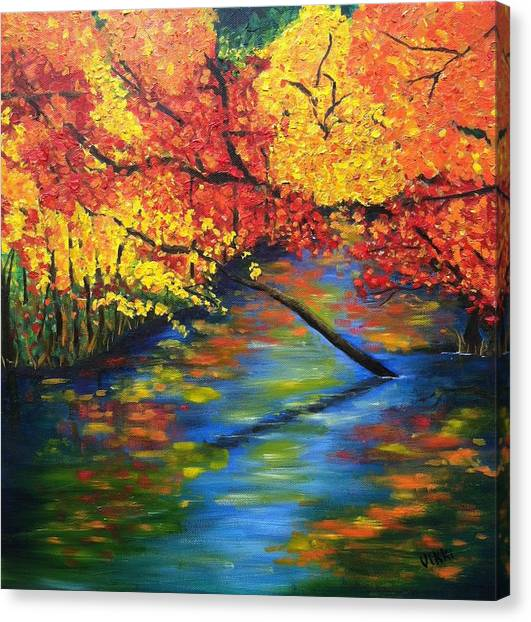 Autumn Crossing The River Canvas Print