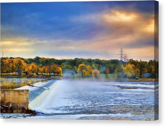 Autumn Dam Canvas Print by Troy Schopp