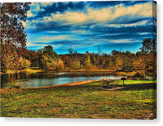 Autumn Day On The River Canvas Print
