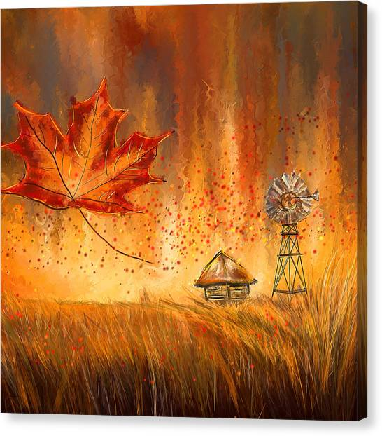 Maple Leaf Art Canvas Print - Autumn Dreams- Autumn Impressionism Paintings by Lourry Legarde
