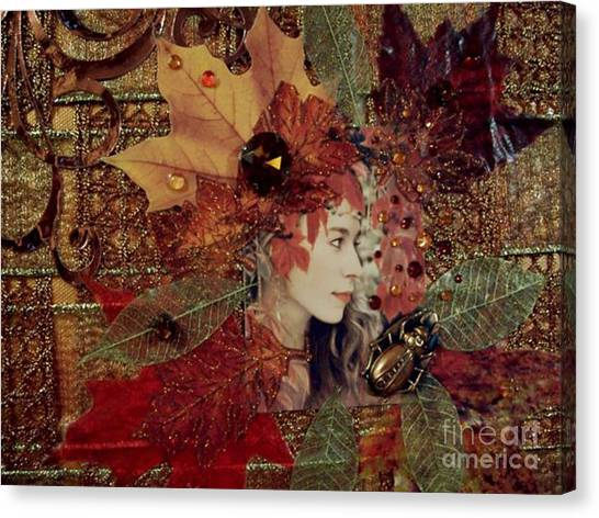 Autumn Dryad Collage Canvas Print by Maureen Tillman