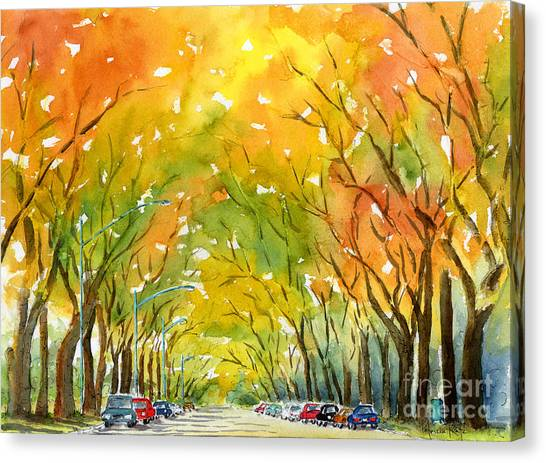Autumn Elms Canvas Print by Pat Katz