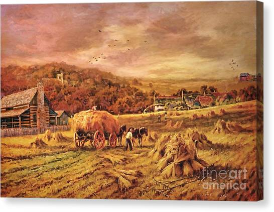 Folk Art Canvas Print - Autumn Folk Art - Haying Time by Lianne Schneider