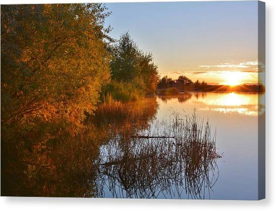 Autumn Glow At The Lake Canvas Print