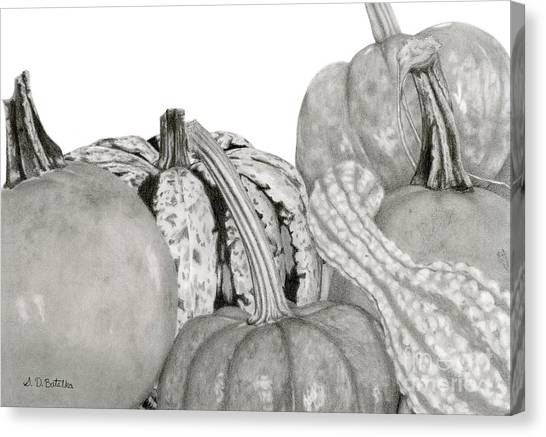 Pumpkin Patch Canvas Print - Autumn Harvest On White by Sarah Batalka