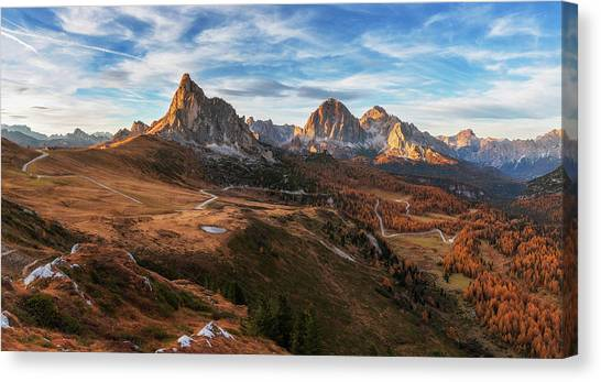 Alps Canvas Print - Autumn In Dolomites by Ales Krivec