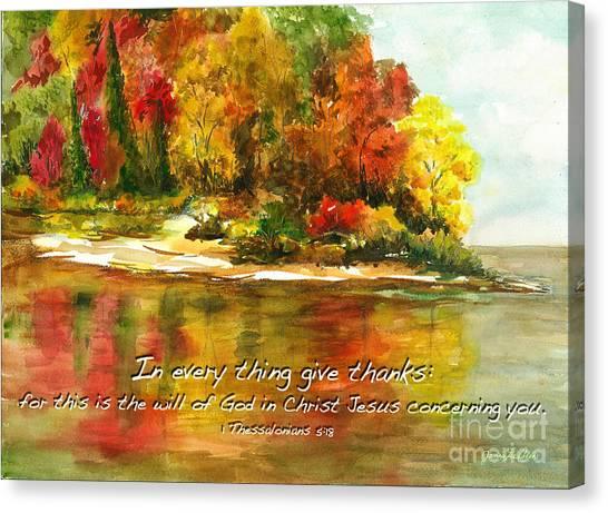 Autumn Lake 1 Thessalonians 5  Canvas Print