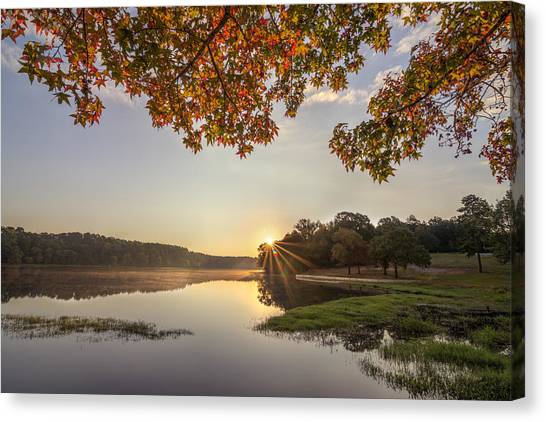 Autumn Lake Sunrise In East Texas Canvas Print