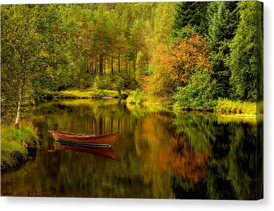 Autumn Lake With Boat Canvas Print