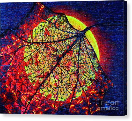 Autumn Leaf Moon Canvas Print